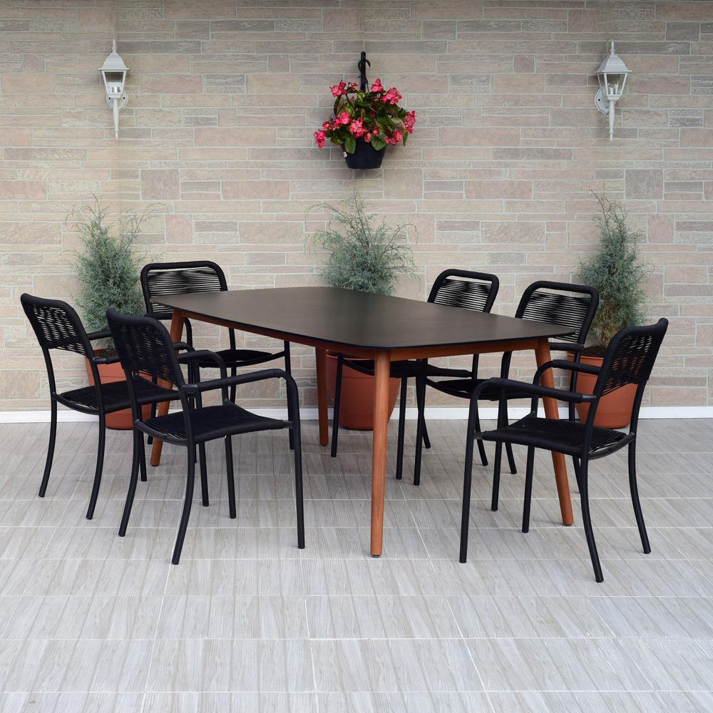Wade 7-Piece Wood Rectangular Outdoor Dining Set