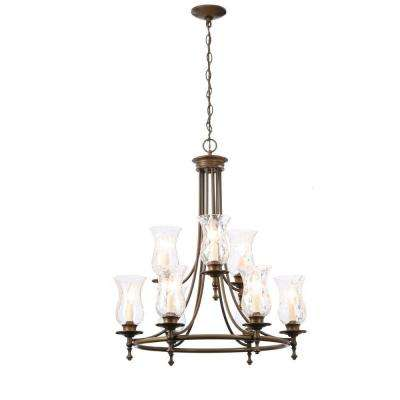 Grace 9-Light Rubbed Bronze Chandelier with Seeded Glass Shades