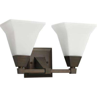 Glenmont Collection 2-Light Venetian Bronze Bathroom Vanity Light with Glass Shades