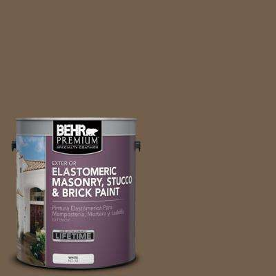 1 gal. #MS-46 Chestnut Brown Elastomeric Masonry, Stucco and Brick Exterior Paint