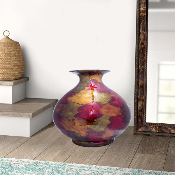 Shelly Copper, Red and Gold Ceramic Decorative Vase