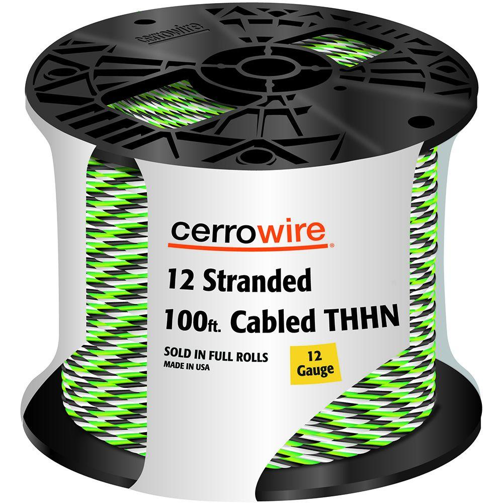 Cerrowire 100 ft. 12-3 Black, White and Green Cabled Stranded THHN Cable