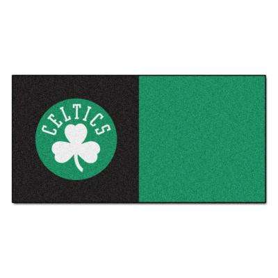 NBA Boston Celtics Black and Green Pattern 18 in. x 18 in. Carpet Tile (20 Tiles/Case)
