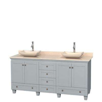 Acclaim 72 in. W x 22 in. D Vanity in Oyster Gray with Marble Vanity Top in Ivory with Ivory Basins