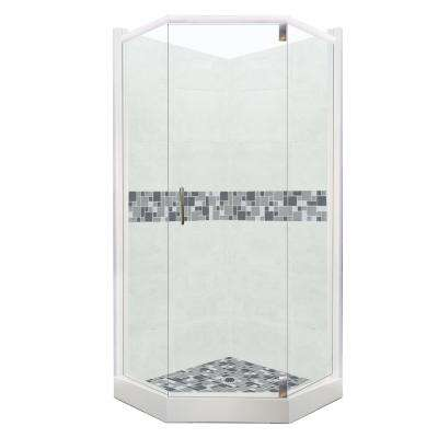 Newport Grand Hinged 36 in. x 42 in. x 80 in. Right-Cut Neo-Angle Shower Kit in Natural Buff and Satin Nickel