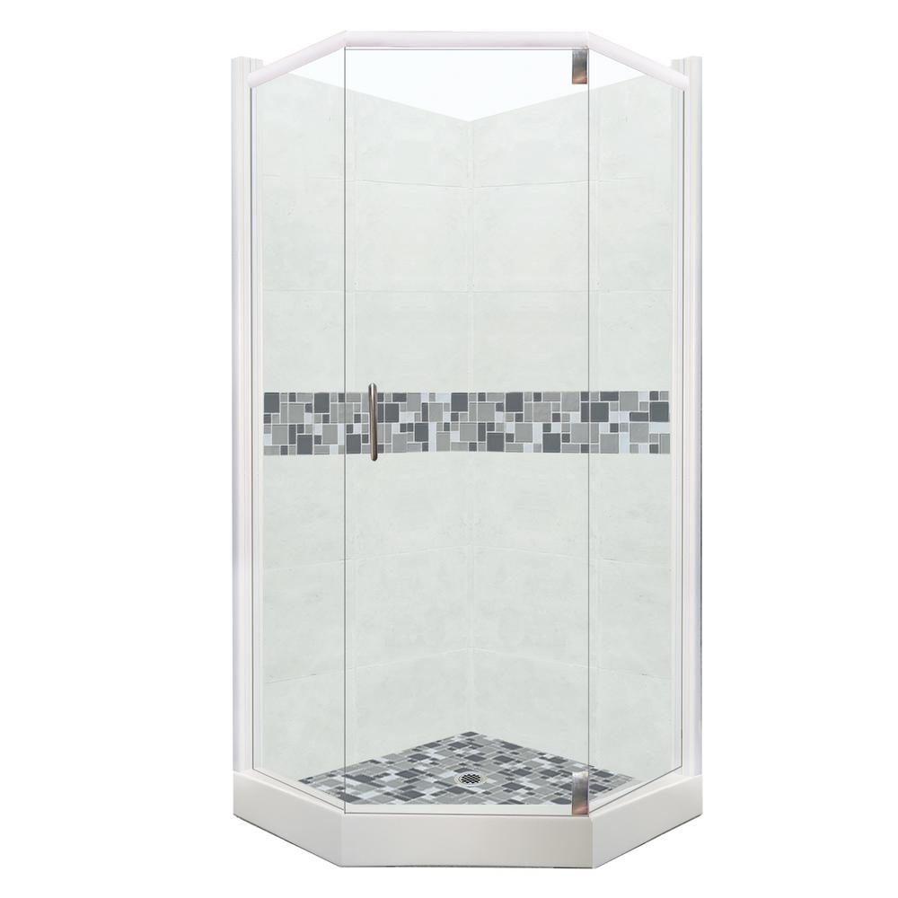American Bath Factory Newport Grand Hinged 36 In X 48 80 Right Cut Neo Angle Shower Kit Natural Buff And Satin Nickel Hardware
