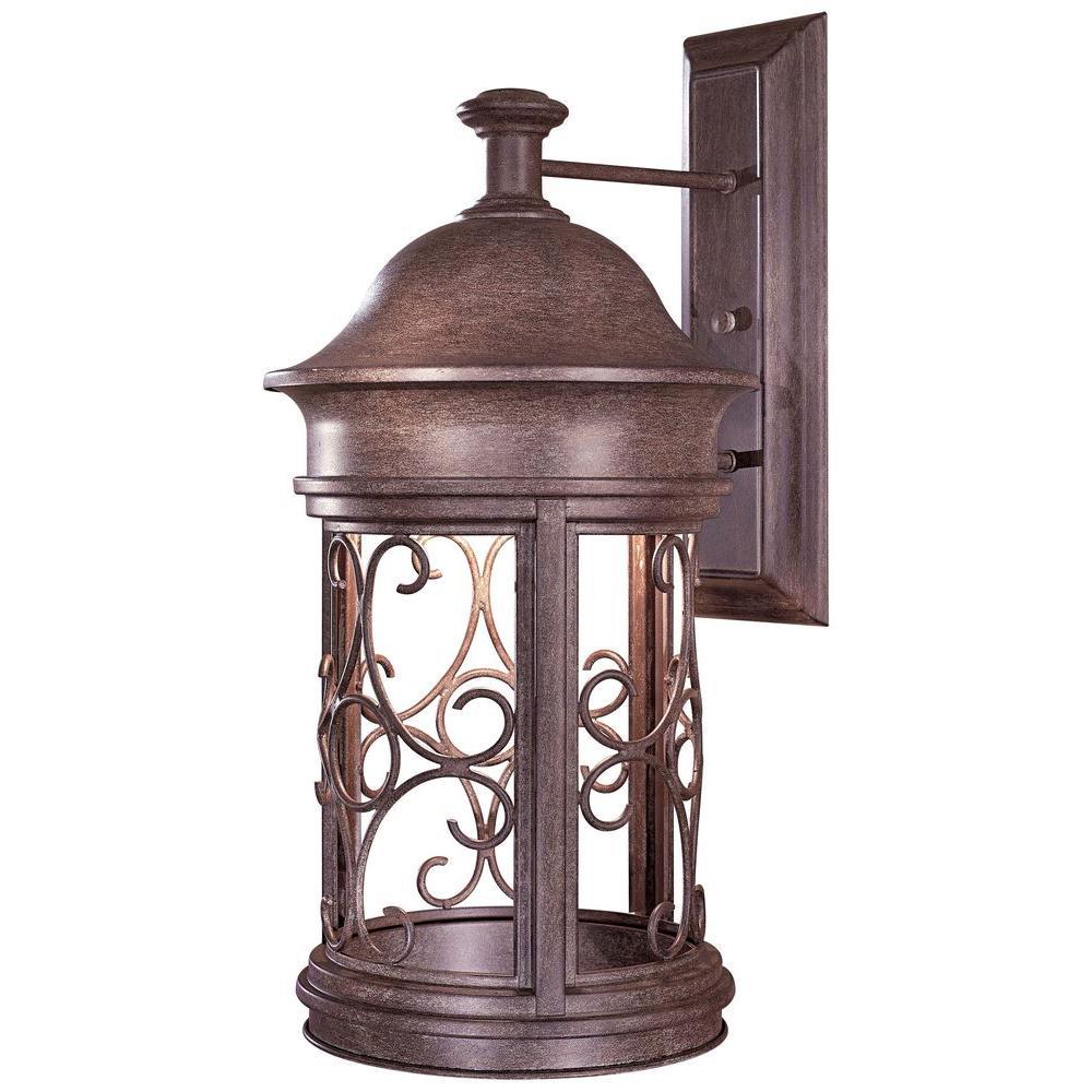 Sage Ridge 1-Light Vintage Rust Outdoor Wall Mount Lantern