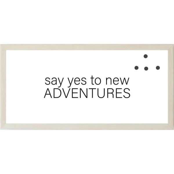 Say Yes To New Adventures, Natural Frame, Magnetic Memo Board