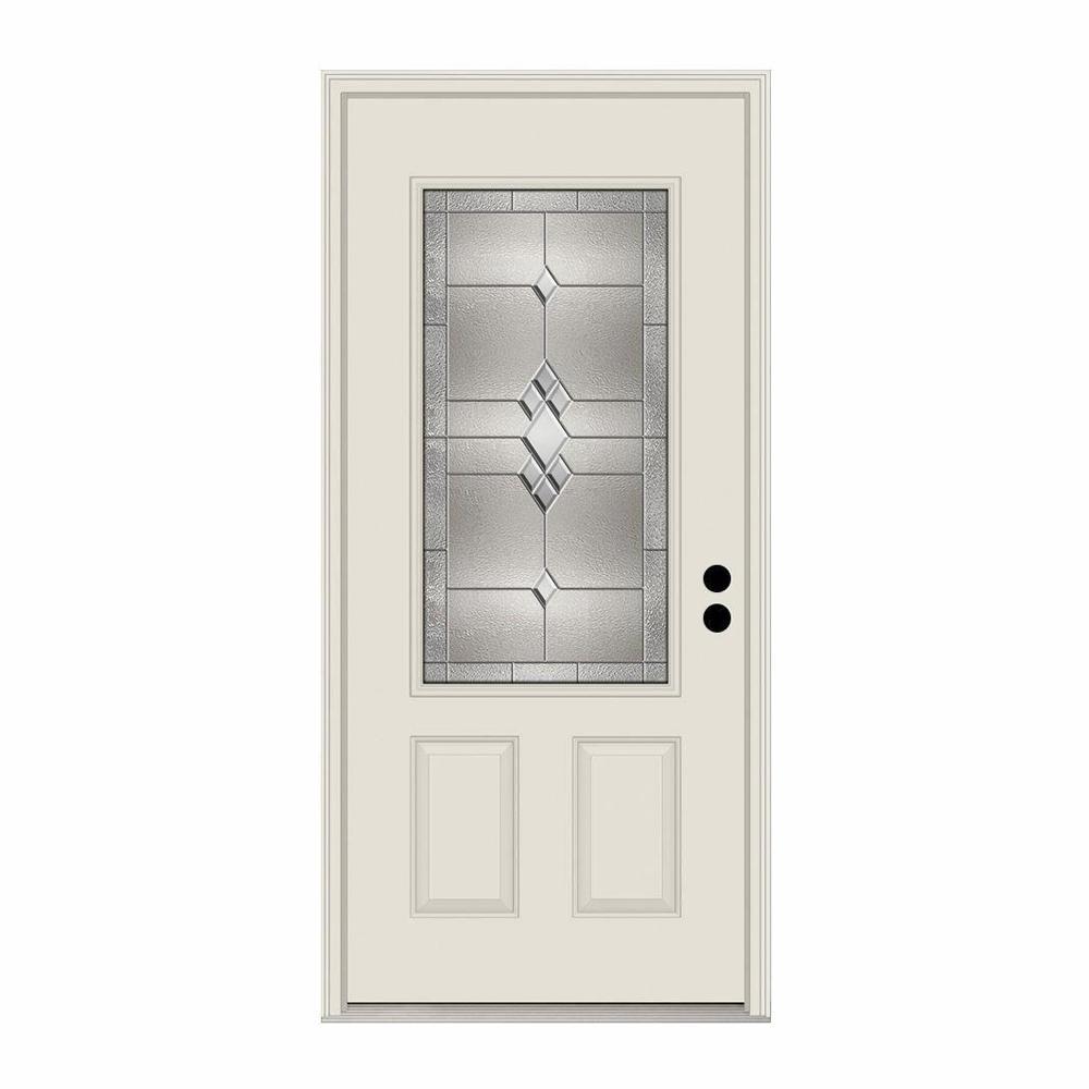 JELD-WEN 36 in. x 80 in. 3/4 Lite Kingston Primed Steel Prehung Left-Hand Inswing Front Door w/Brickmould