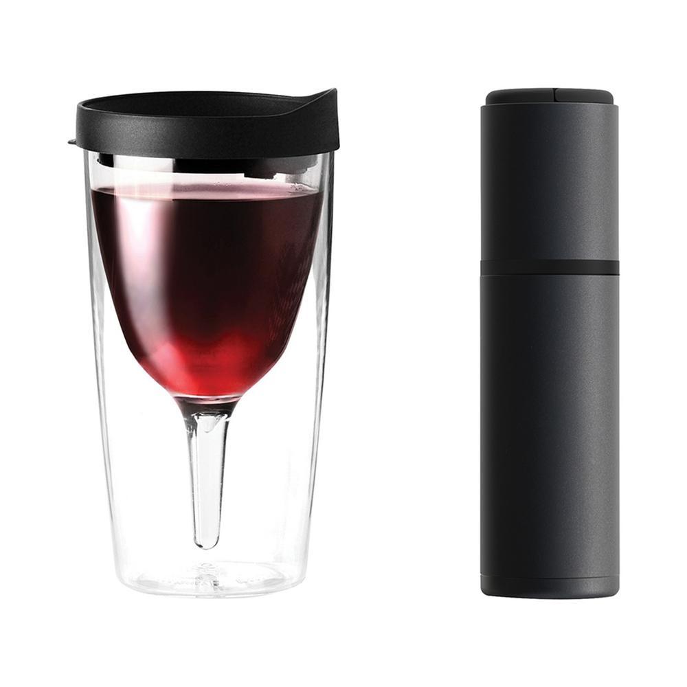 Black Vin Blanc Portable Wine Chiller and Black 10 oz. Vino 2 Go Wine Tumbler Set
