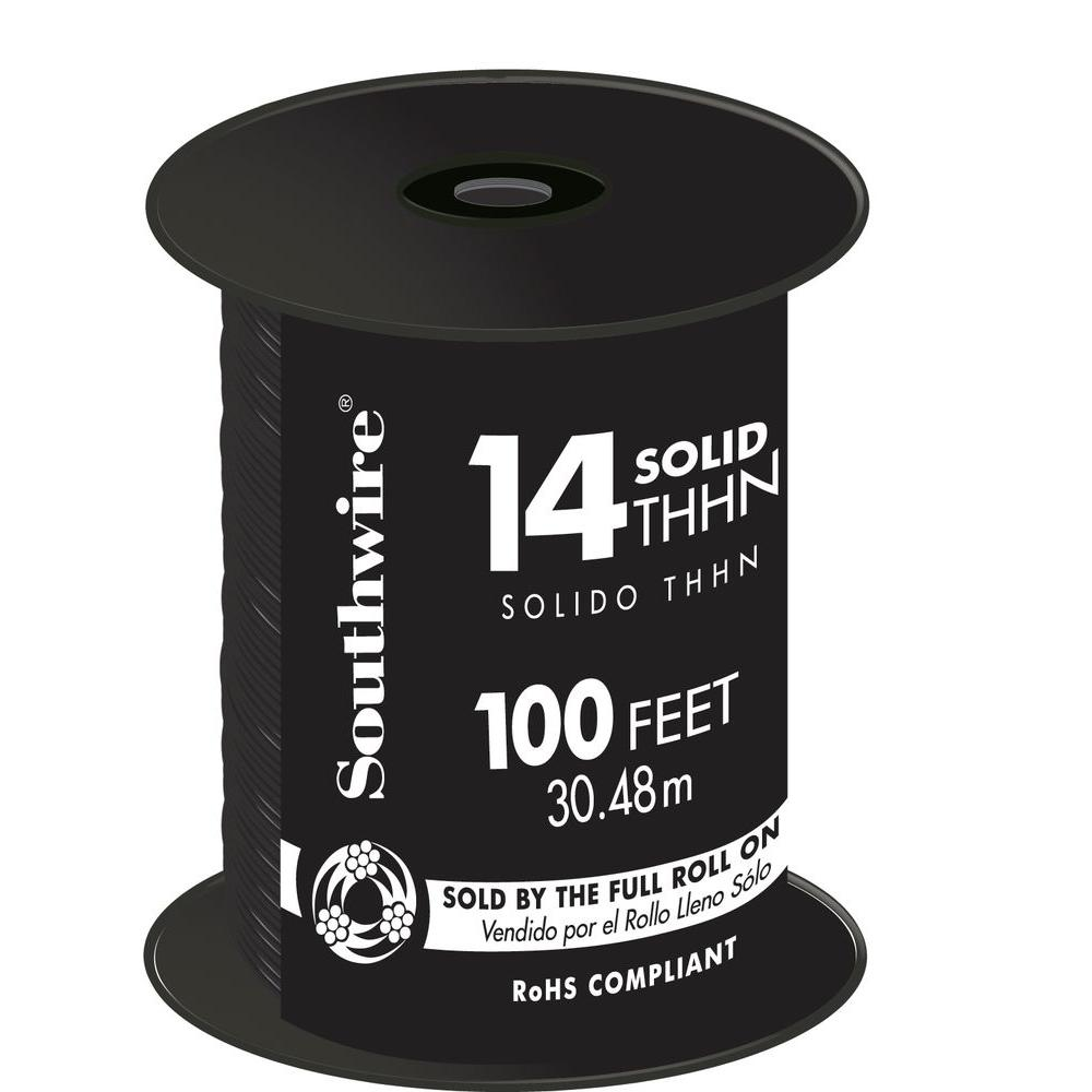 Southwire 100 ft. 14 Black Solid CU THHN Wire