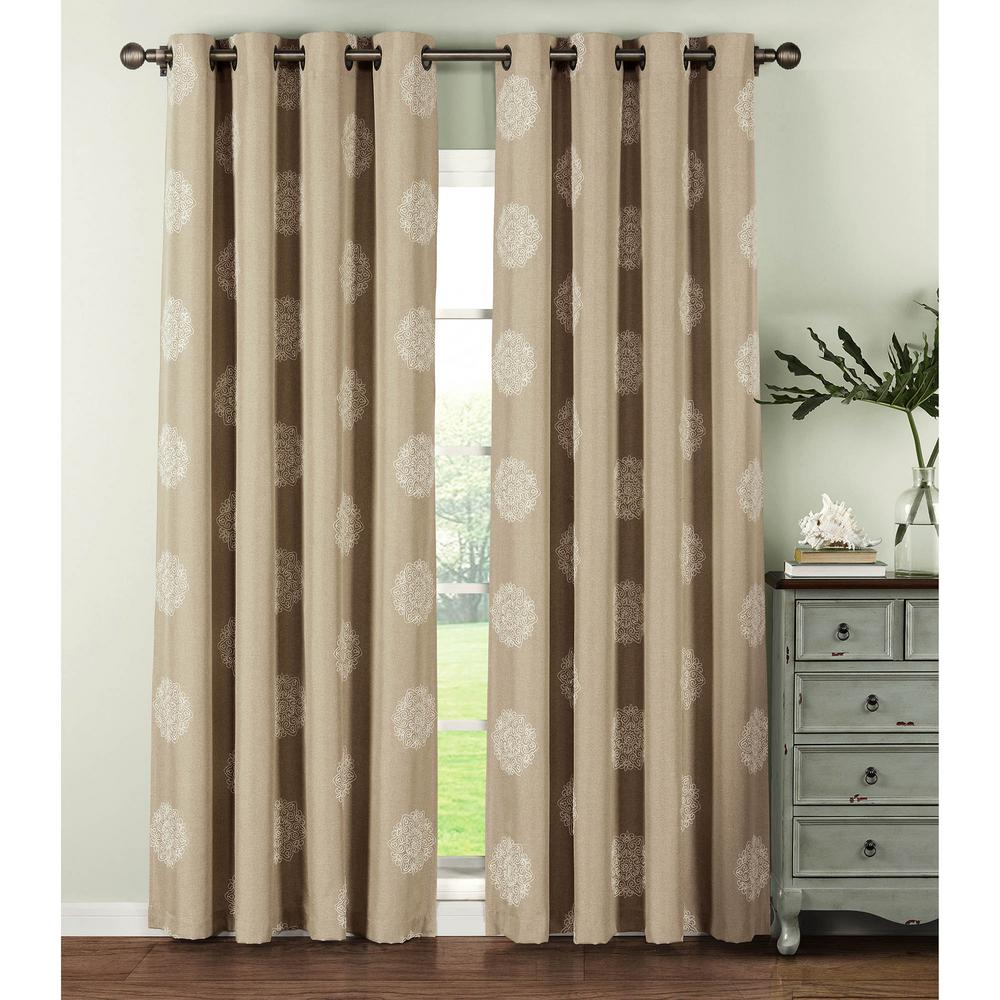 Window Elements Semi Opaque Venice Embroidered Faux Linen Extra Wide 84 In.  L Grommet