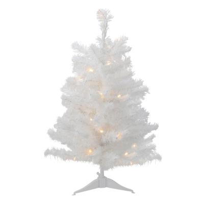 3 ft. Pre-Lit LED Snow White Medium Artificial Christmas Tree - Clear Lights