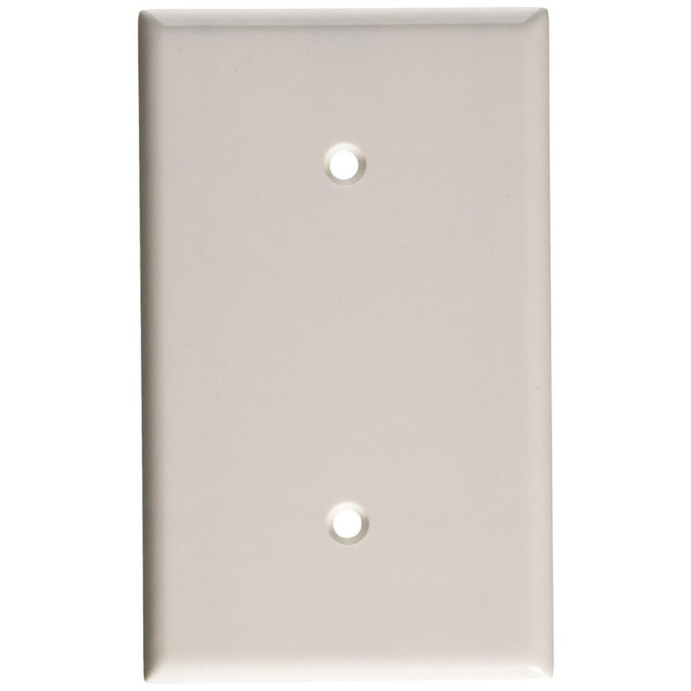 1-Gang No Device Blank Wallplate, Standard Size, Thermoset, Strap Mount, White
