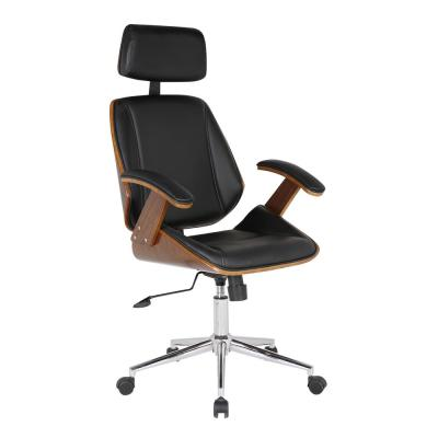 Alison Office Chair with Multifunctional Mechanism in Chrome with Black Faux Leather and Walnut Veneer Back