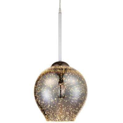 Rogue Decor Spacey 1-Light 9 in. Polished Chrome with 3D Iridescent Optic Space Glass Mini Pendant