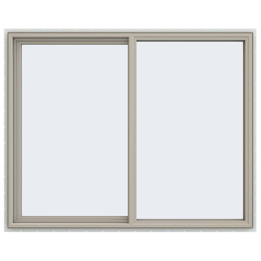 59.5 in. x 47.5 in. V-4500 Series Desert Sand Painted Vinyl Left-Handed Sliding Window with Fiberglass Mesh Screen