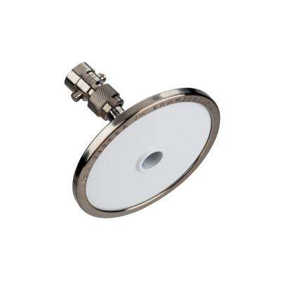 Tenaya PLUS 1-Spray 5 in. Round Fixed Showerhead and Valve with All Metal Parts in Nickel with Powder Coated White Face
