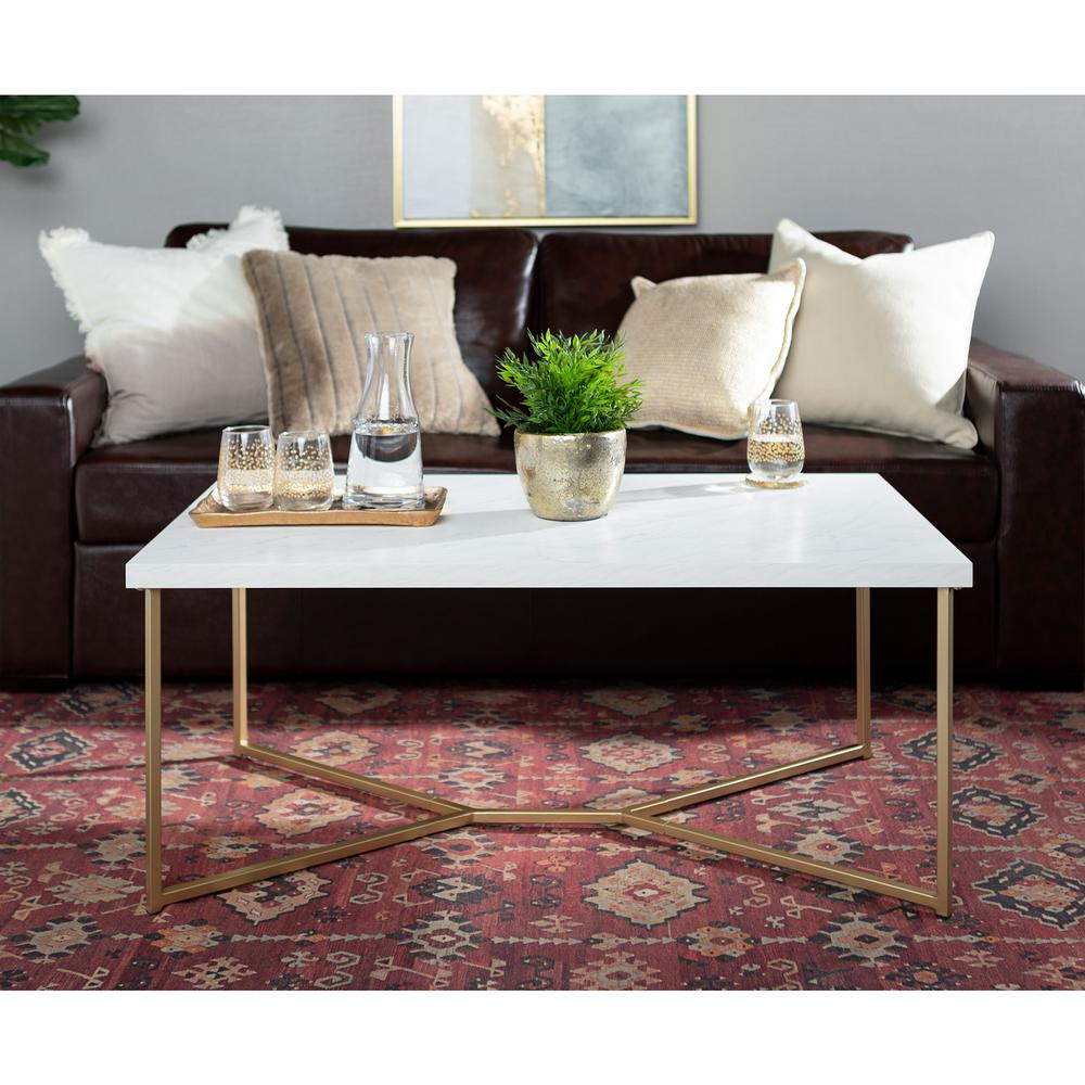 Walker Edison Furniture Company 42 In Y Leg Coffee Table In White