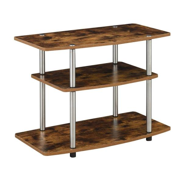 Design2Go 31.5 in. W Barnwood TV Stand with 3-Tiers fits up to a 32 in. TV