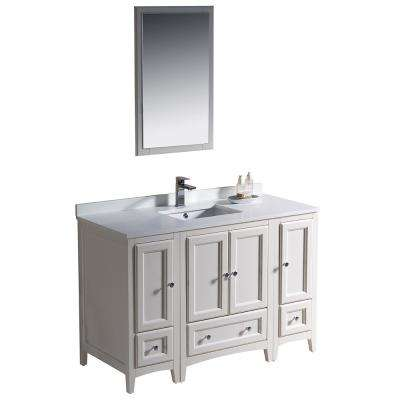 Warwick 48 in. Bathroom Vanity in Antique White with Quartz Stone Vanity Top in White with White Basin and Mirror