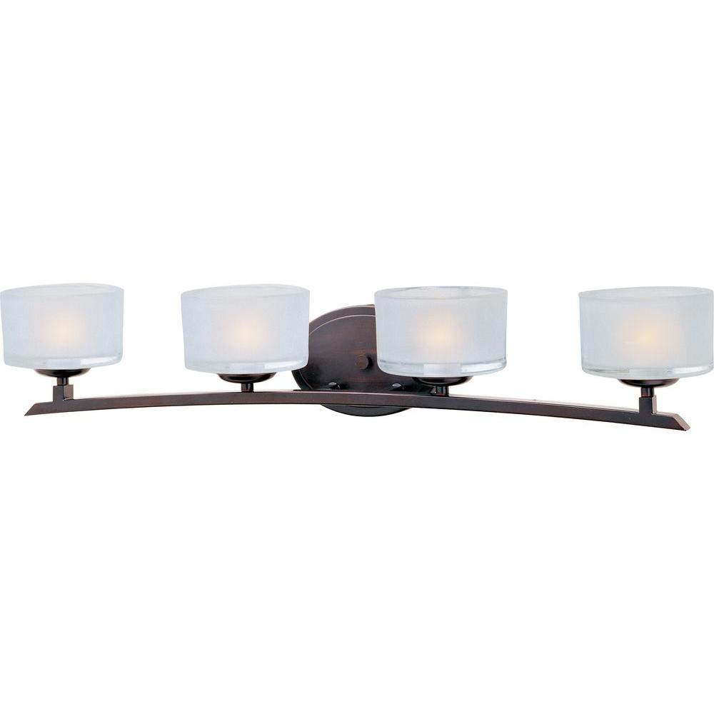 Maxim lighting elle 4 light oil rubbed bronze bath vanity - Bathroom lighting oil rubbed bronze ...