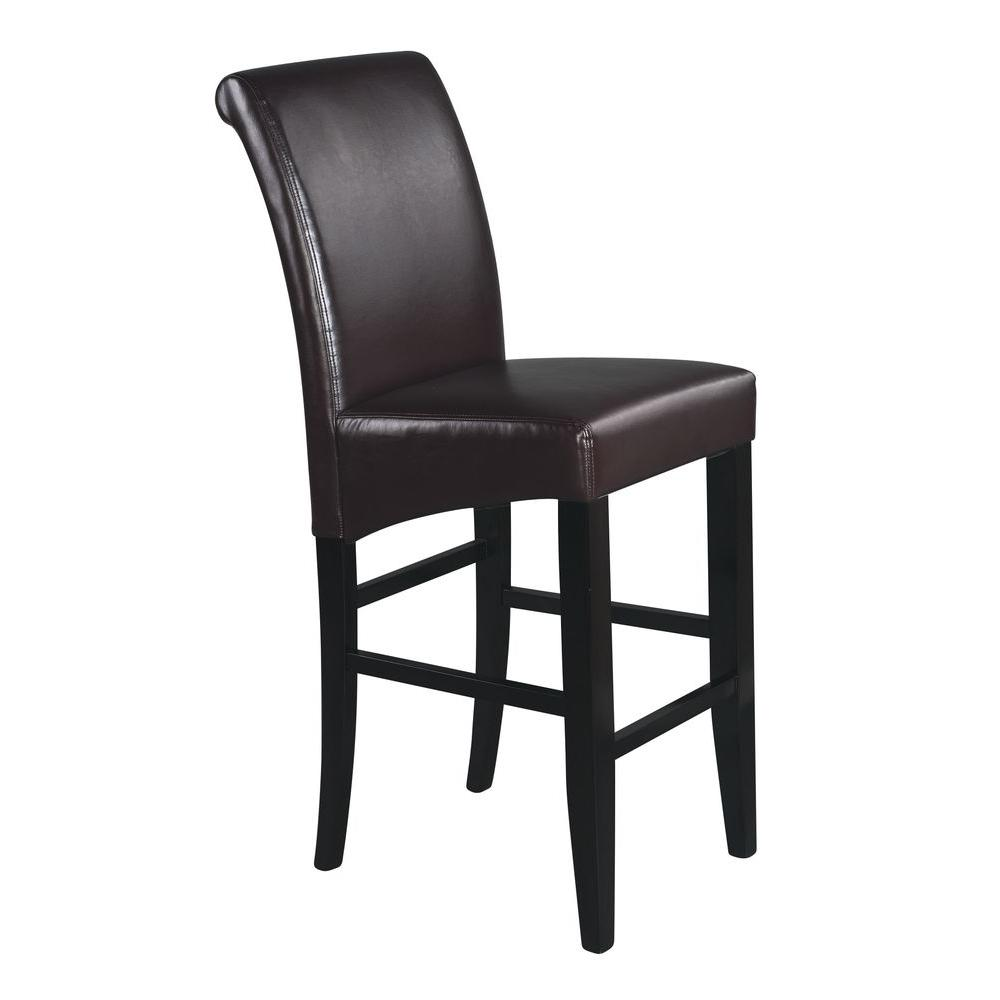 OSPdesigns Parsons 30 in. Bonded Leather Barstool in Espresso
