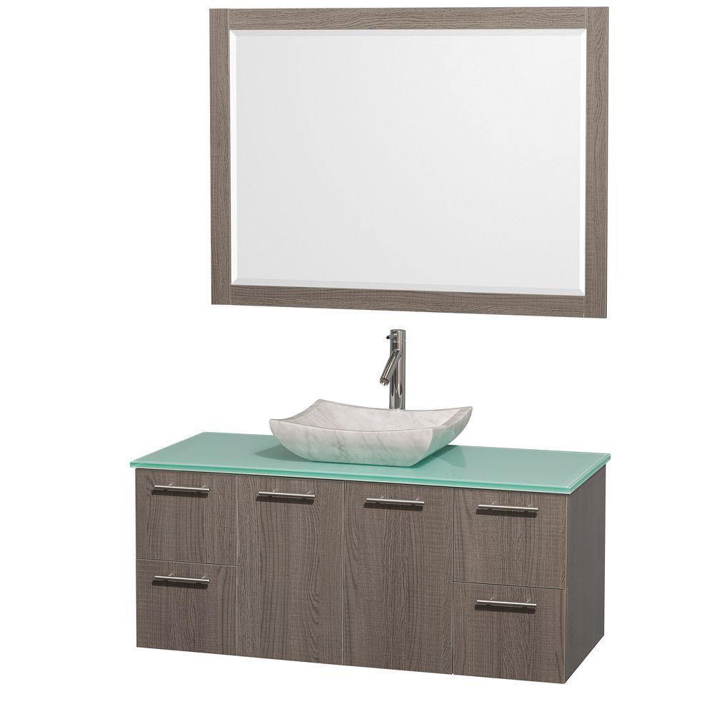 Amare 48 in. Vanity in Grey Oak with Glass Vanity Top