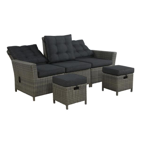 Alaterre Furniture Asti 3 Piece All Weather Wicker Outdoor Loveseat Seating Set With Dark Gray Cushions Awwf012ff The Home Depot