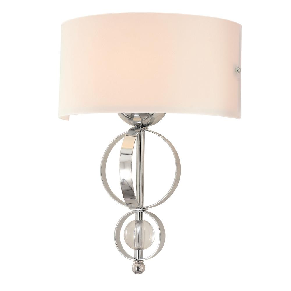Cerchi 1-Light Chrome with Etched Opal Glass Wall Sconce
