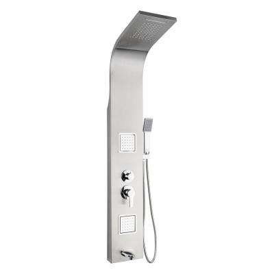 55 in. 2 Massage Spray Jet Shower Panel System in Stainless Steel with Rainfall Waterfall Shower Head and Shower Wand