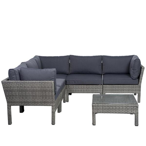 Atlantic Liberty Grey 6-Piece Wicker Outdoor Sectional Set with Polyester Grey Cushions