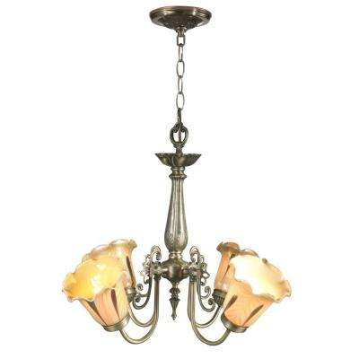 Columbus Tulip 4-Light Antique Brass Hanging Chandelier