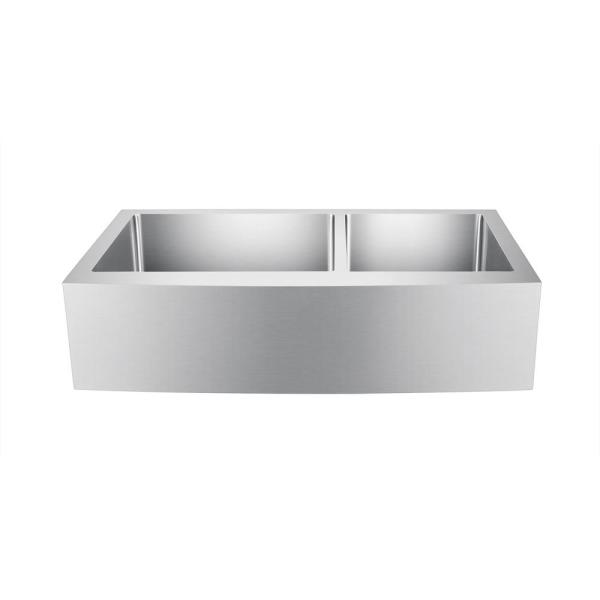 Damita Farmhouse Apron Front Stainless Steel 36 in. 60/40 Double Bowl Kitchen Sink