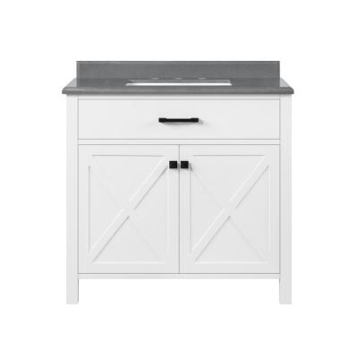 Ainsley 36 in. W x 22 in. D Vanity in White with Cultured Stone Vanity Top in Grey with White Basin