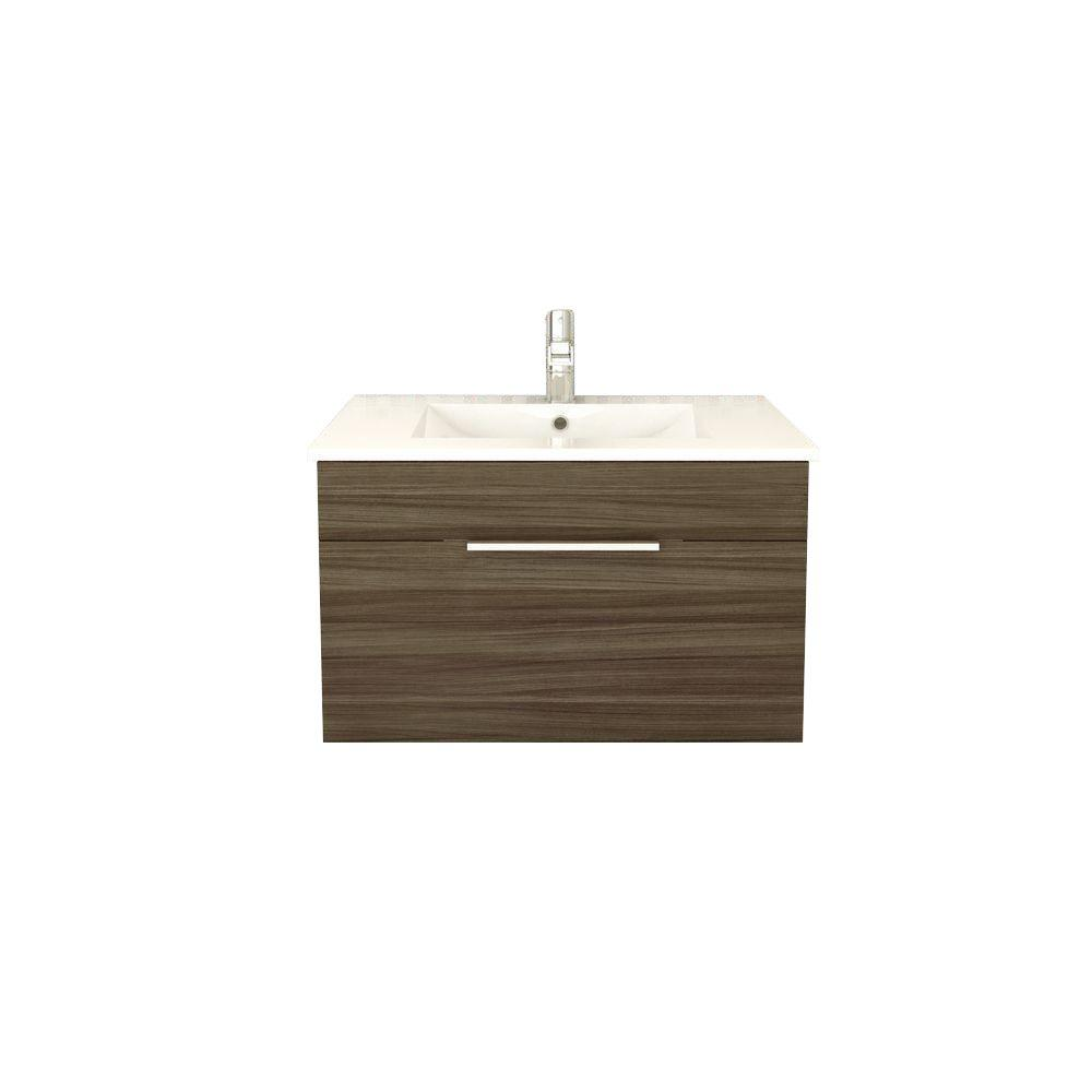 Cutler Kitchen and Bath Textures Collection 30 in. W x 18 in. D x 19 in. H Vanity in Driftwood with Acrylic Vanity Top in White with White Basin