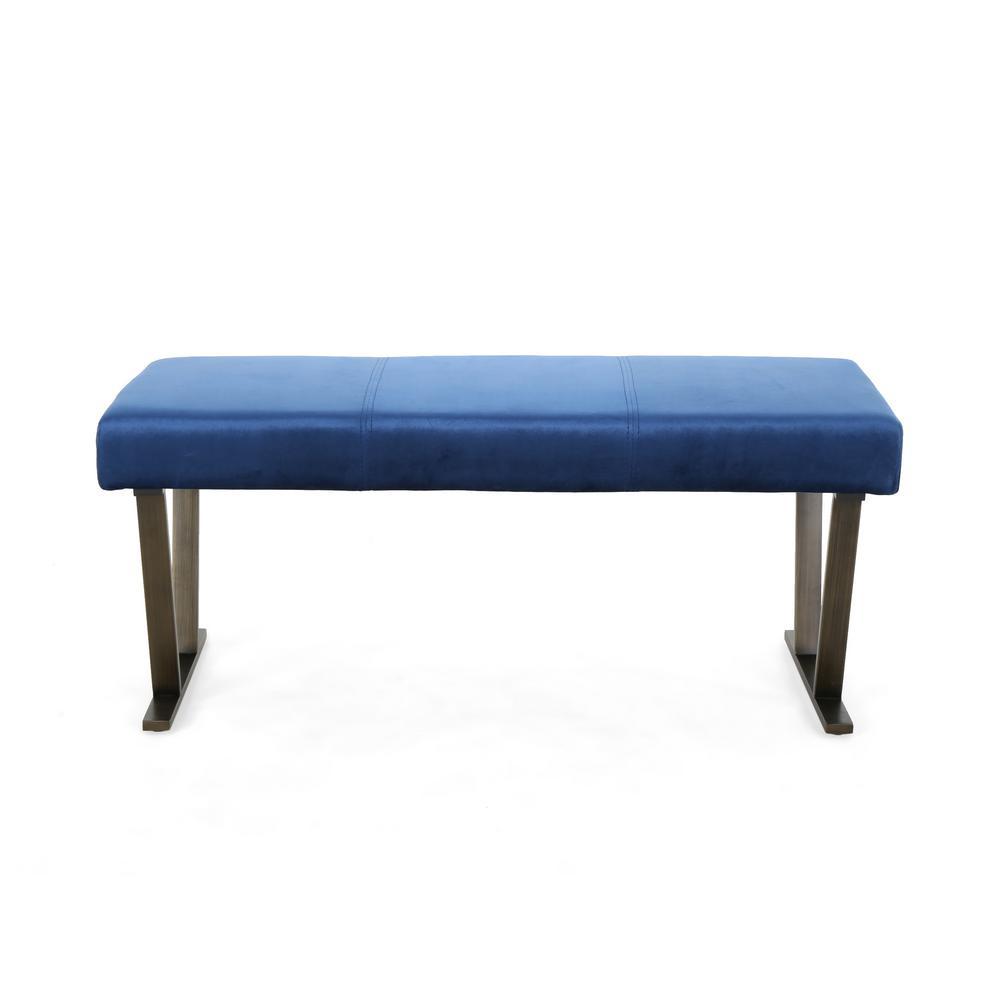 Albano Modern Navy Blue Velvet Bench with Brushed Brass Stainless Steel Legs