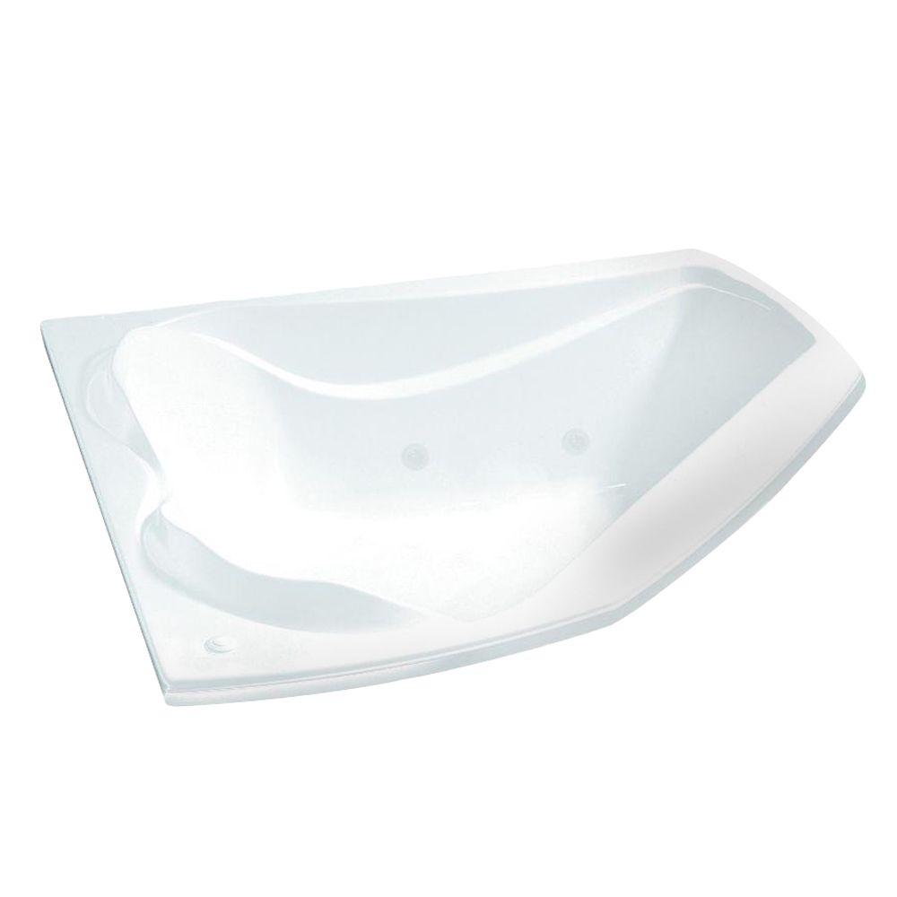 MAAX Velvet 6054 Corner 53-7/8 in. x 59-3/4 in. x 21 in. Podium Air Bath Tub with Front Drain in White