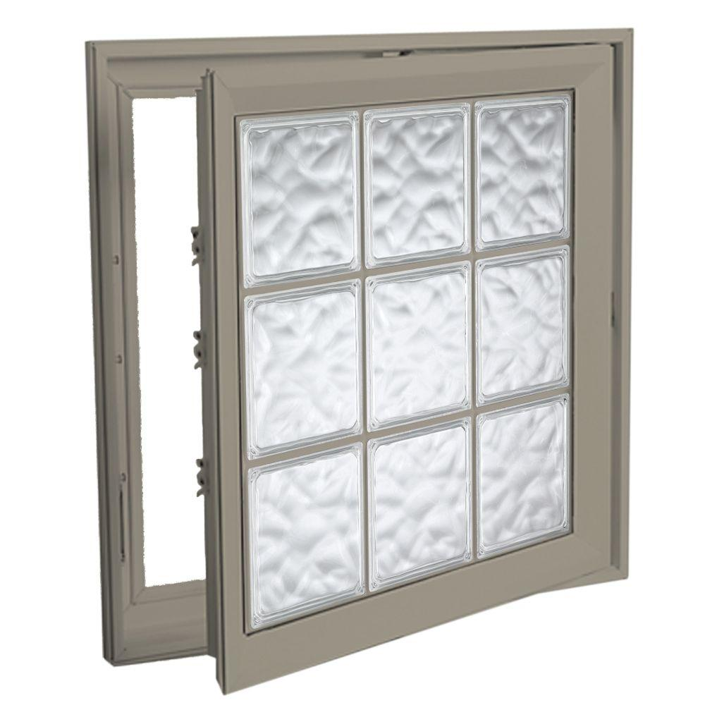 Hy-Lite 21 in. x 45 in. Acrylic Block Right Casement Vinyl Window - Tan
