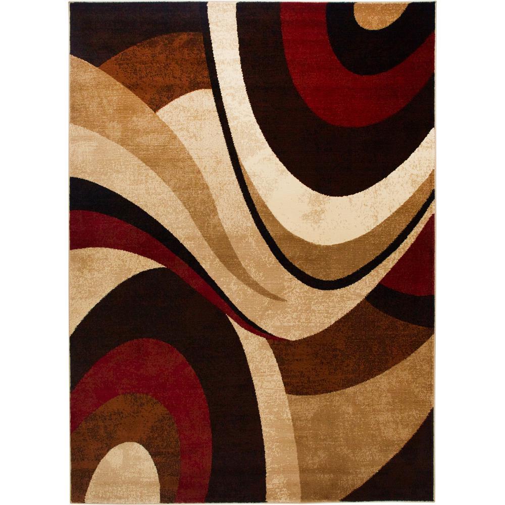 Tribeca Brown/Red 5 ft. x 7 ft. Indoor Area Rug