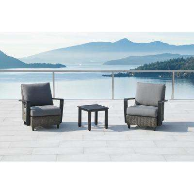 Augusta Charcoal 3-Piece Aluminum Patio Conversation Set with Sunbrella Gray Cushions