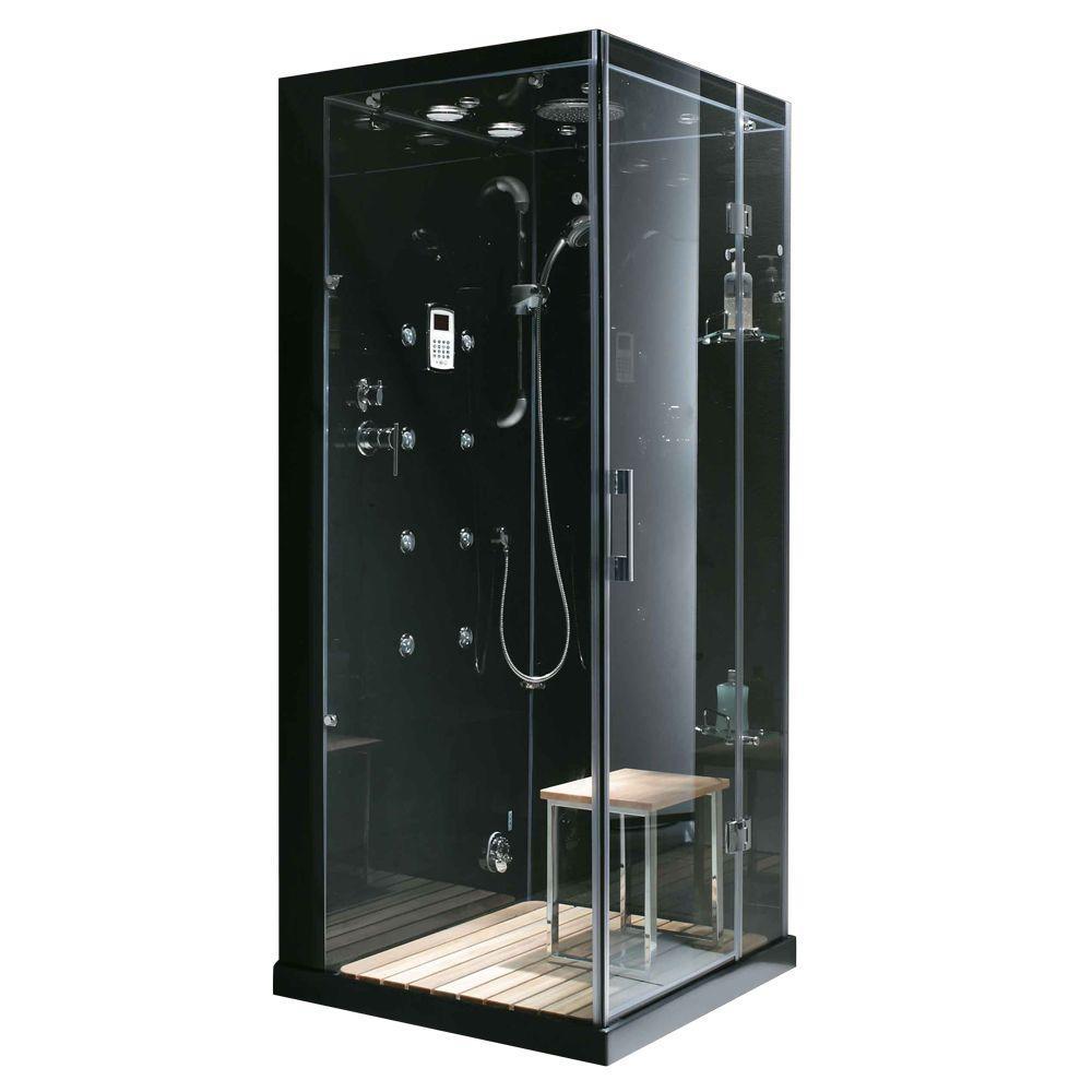 Steam Planet Jupiter 35 inch x 35 inch x 86 inch Steam Shower Enclosure Kit in Black by Steam Planet
