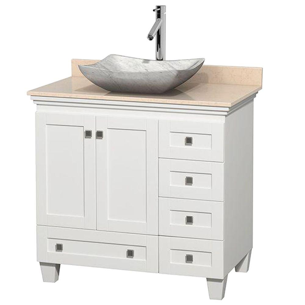 Wyndham Collection Acclaim 36 In W Vanity In White With Marble