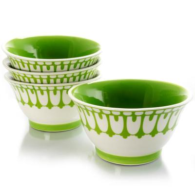 Life On The Farm White/Green 6.4 in. Footed Bowl (Set of 4)