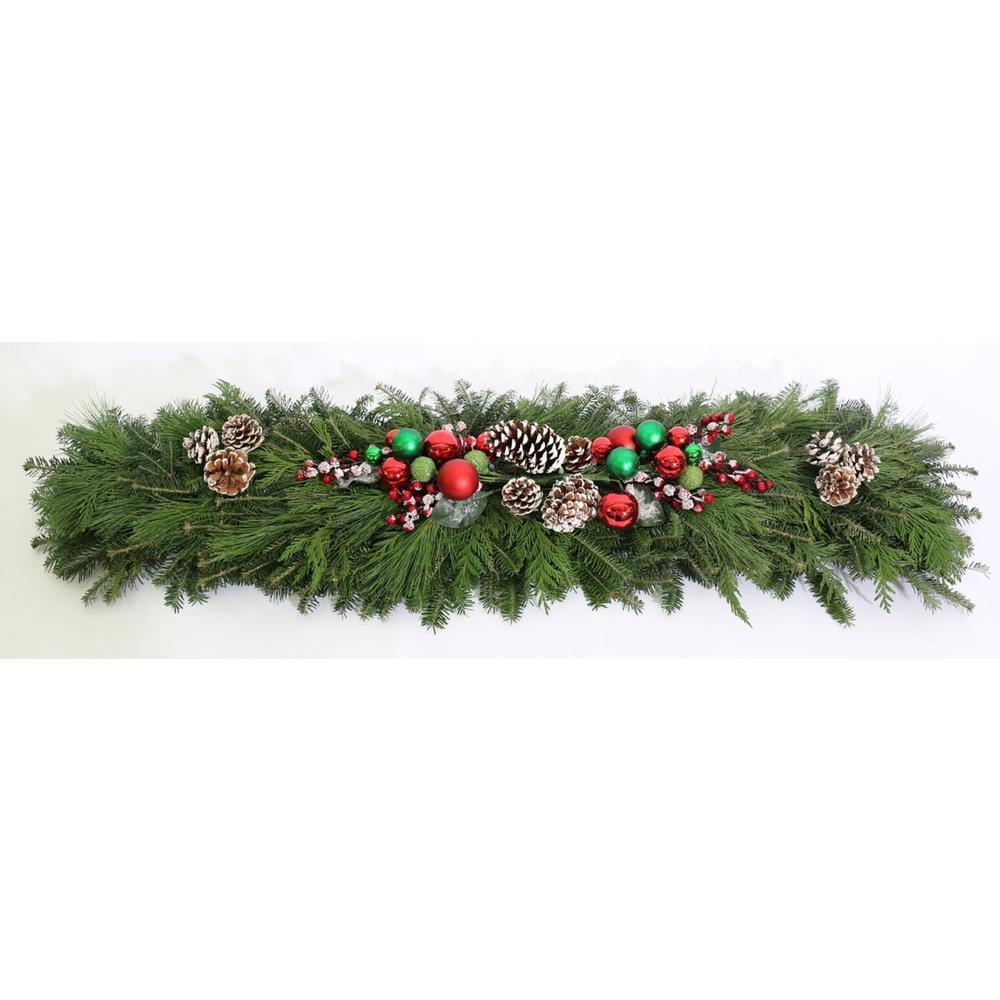 4 ft. Mixed Christmas Splendor Fresh Evergreen Mantle Piece