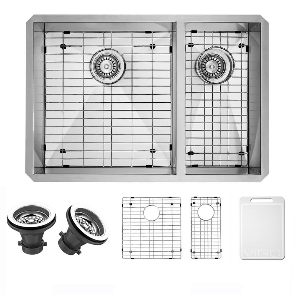 VIGO Undermount Stainless Steel 29 In. Double Bowl Kitchen Sink In  Stainless Steel With Grid And Strainer VG2920BLK1   The Home Depot