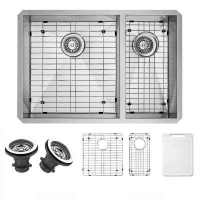 Endicott Undermount Stainless Steel 29 in. 60/40 Double Bowl Kitchen Bar Sink with Grids, Strainers in Stainless Steel