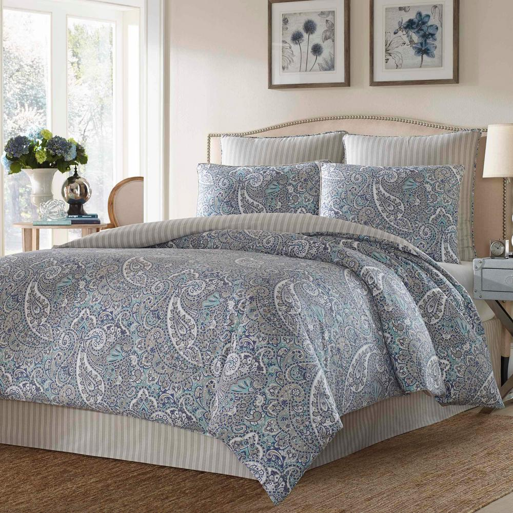 Lancaster 3-Piece Blue Paisley King Duvet Cover Set