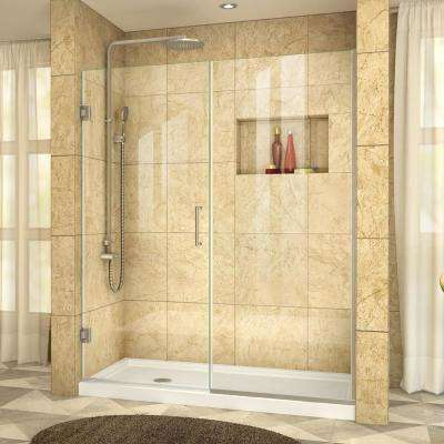 Unidoor Plus 57 in. to 57-1/2 in. x 72 in. Semi-Frameless Hinged Shower Door in Brushed Nickel