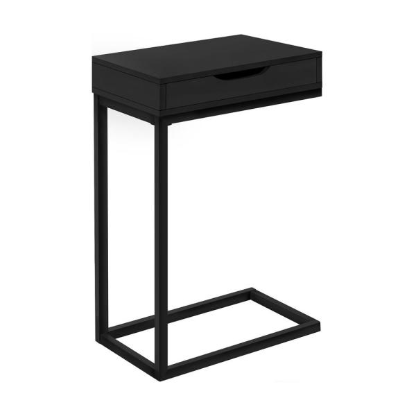Jasmine 24.5 in. Black Metal With A Drawer Accent Table
